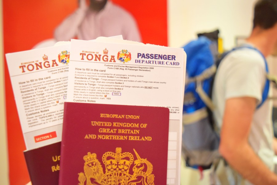 The Passenger Departure Card for Tonga