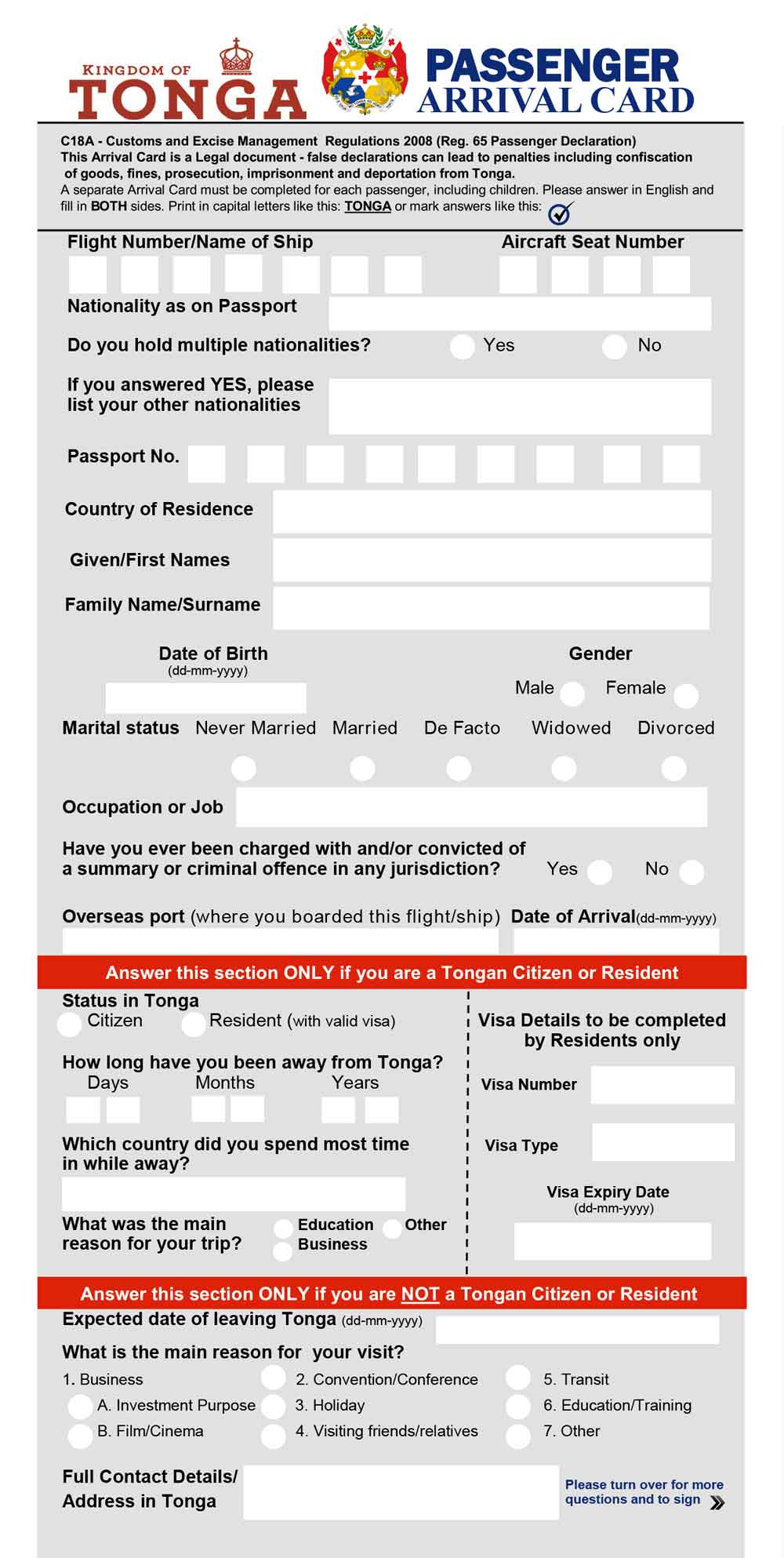 Tonga Passenger Arrival Card Front